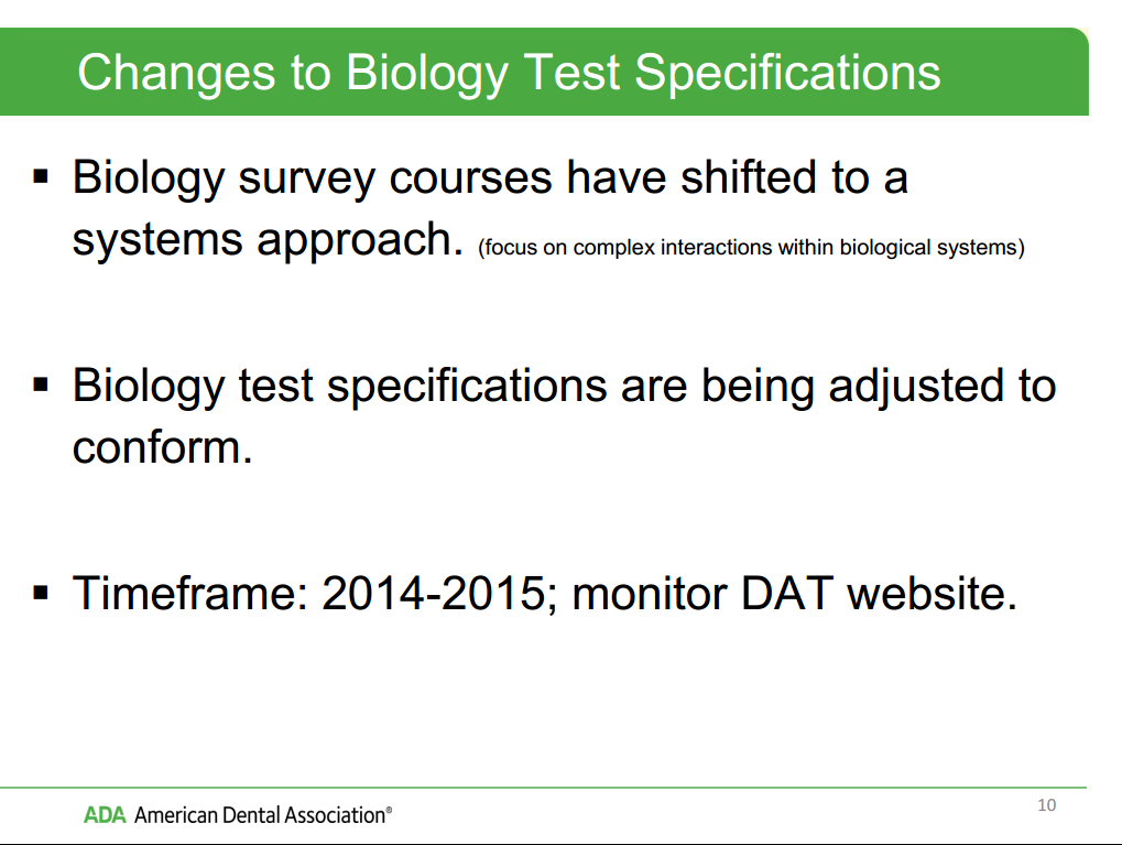 Changes to Biology Test Specifications